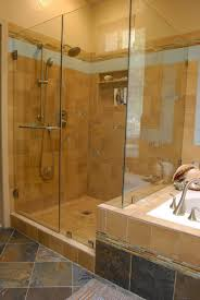 shower tub combo tile ideas natural stone wall and floor tiled