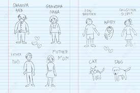 kindergarten children pencil doodle drawing sketch of a family