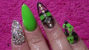 acrylic nails lime green nail art youtube