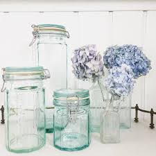 vintage canning jars aqua blue hermetic air tight ball jar