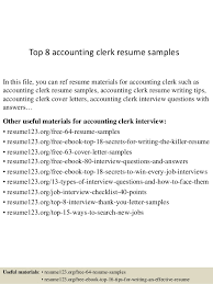 Sample Resume For An Accountant by Top 8 Accounting Clerk Resume Samples 1 638 Jpg Cb U003d1429858821