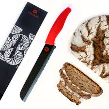 kikusumi black ceramic collection bread knife set red