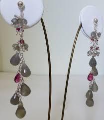 Long Chandelier Earrings Dangle Earrings Grey Moonstone Labradorite U0026 Raspberry Tourmaline Long Drop Earr