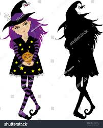 halloween vector illustration young witch pumpkin stock vector
