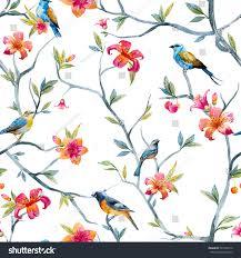 Wallpaper With Birds Watercolor Seamless Pattern Birds Flowers Tree Stock Illustration