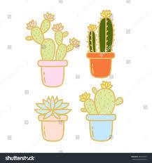 sets four cute cartoon cactus succulent stock vector 482377453