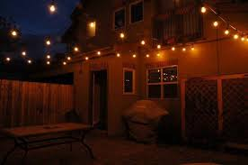 backyard patio with small string lights and affordable patio