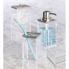interdesign clarity bath accessories in brushed nickel