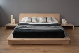 oregon is a low solid wood platform bed with an ultra modern