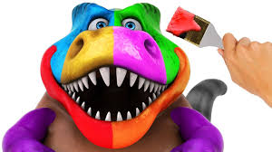 squishy dinosaurs face painting learn colors balls funny cartoons