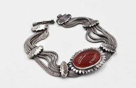 multi chain silver bracelet images Vintage sterling silver red carnelian bracelet multi chain jpg
