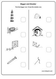 bigger and smaller worksheets work sheets for kindergarten