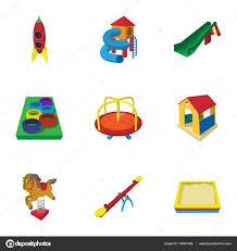 backyard entertainment icons set cartoon style u2014 stock vector