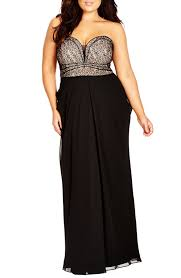 maxi size city chic motown strapless lace chiffon maxi dress plus size
