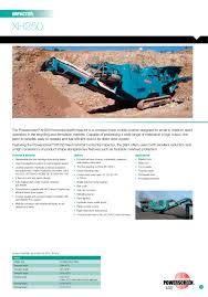 xh250 powerscreen pdf catalogue technical documentation