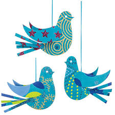 turquoise blue origami paper bird ornaments set of 3 doves