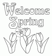 welcome spring coloring page for kids seasons coloring pages