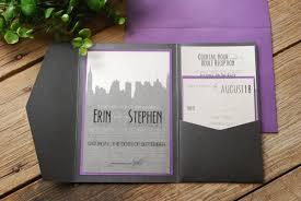 Wedding Inserts Wedding Invitation New York Skyline Purple And Black With Pocket