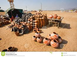 handmade clay pots for sale in a indian village editorial