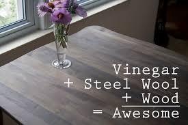 Refinishing Wood Dining Table Bombasine Diy Wood Refinishing With Vinegar And Steel Wool