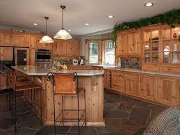 Rustic Hickory Kitchen Cabinets Rustic Kitchen The Knotty Alder Cabinets And Natural Stone Floor