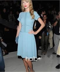 quality assurance light blue dress feminine women blended silk