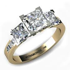 white gold engagement ring with yellow gold wedding band princess cut gold diamond rings channel princess cut diamond