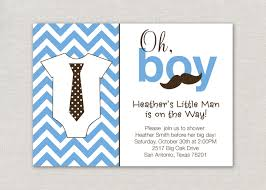 calm blue themed bow tie baby shower invitations wording saflly