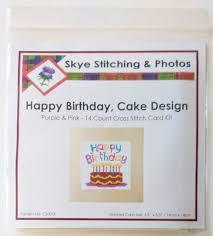cake design happy birthday cards purple u0026 blue cross stitch kits