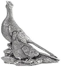 pheasant ornament pair of silver pheasants hallmarked made in