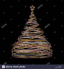tree made of gold white grey and pink wire on black