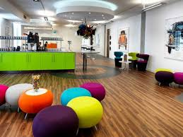 Floor Decore Office Breathtaking Colorful Office Design With Purple Wall