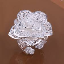 flower shaped rings images Free shipping r116 silver color hollow rose flower shaped ring jpg