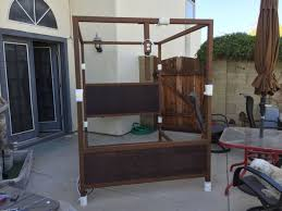 for sale or trade canopy bed with built in frame tv mount