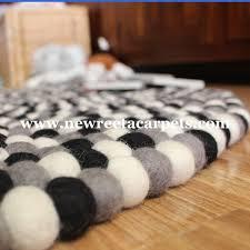 Wool Ball Rug Black And White Felt Ball Rug New Reeta Carpets Nepal