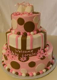 tier baby shower cake with baby slippers jpg