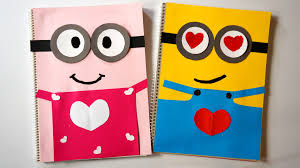 love minions notebook covers diy valentine pink u0026 yellow