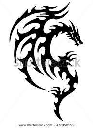 vector illustration tribal dragon tattoo design stock vector