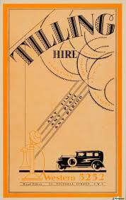 1933 tilling hire vintage car art deco font mini poster vintage