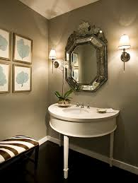 demilune table in powder room modern with powder room next to gray