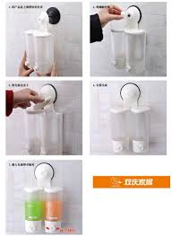 Bathroom Cup Dispenser Wall Mount Mounted Strong Suction Cup Double Hand Liquid Soap Dispenser For