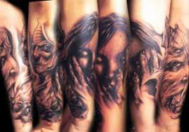 vs evil tattoos half sleeve ideas