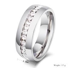 wedding ring brand fashion silver colors titanium steel brand created diamond