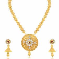 long gold necklace sets images Modern jalebi gold plated long haram necklace set for women buy jpg