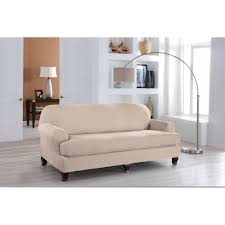Sure Fit Cotton Duck T Cushion Sofa Slipcover by Serta Stretch Fit Microsuede Slipcover Sofa 2 Piece T Cushion