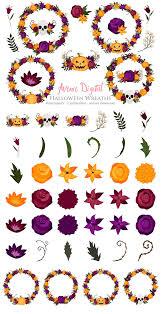 halloween flower wreath clipart illustrations creative market