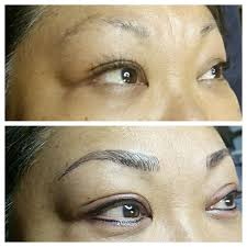 3d microblade eyebrows and before and after eyeliner taken right