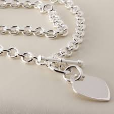 solid sterling silver necklace images Solid sterling silver heart t bar necklace british made hallmarked jpg