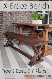 Easy Wooden Bench Plans Diy X Brace Bench Free U0026 Easy Plans Bench Rogues And Free
