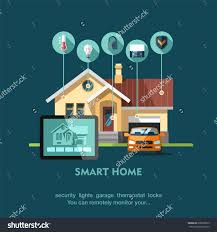 smart house technology smart home flat design style vector stock